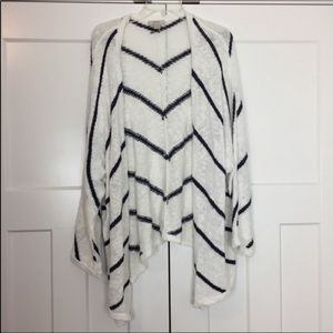 Loft Outlet white and navy open cardigan